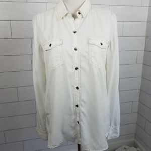 Halogen size Medium Ivory White Long Sleeve Shirt